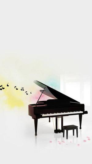 白色钢琴H5背景图