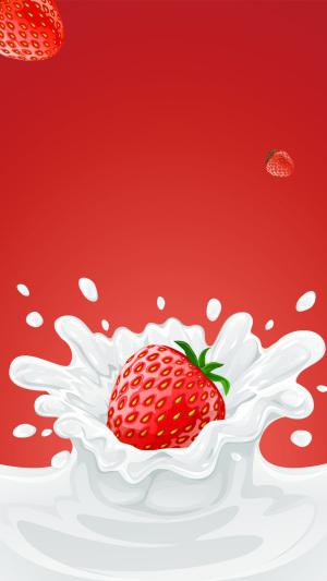 红色草莓牛奶PS源文件H5背景素材