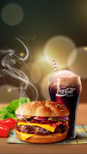 简约快餐汉堡包PS源文件H5背景素材