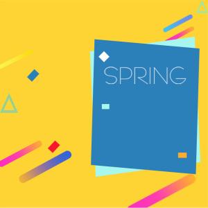 黄色简约扁平春季主图背景