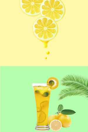 小清新矢量柠檬饮品背景素材