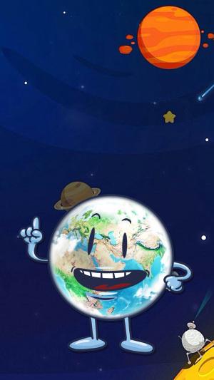 蓝色卡通保护地球PSD分层H5背景素材