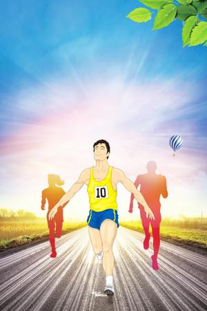 手绘激情马拉松比赛海报背景素材