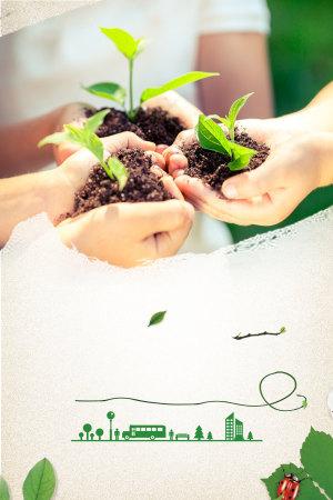 手捧树苗保护湿地地球模板宣传背景素材