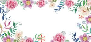 春天清新手绘白色婚礼海报背景