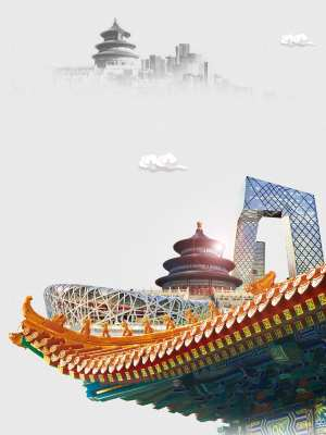 北京印象旅游宣传海报背景模板
