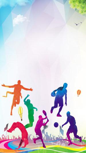 彩色夏季运动会PS源文件H5背景素材