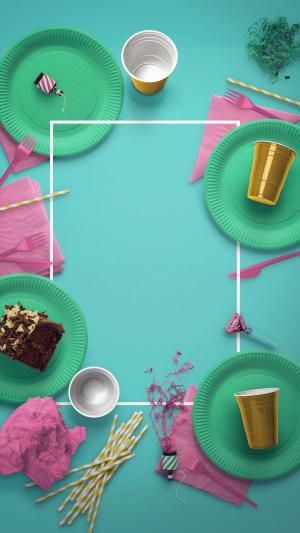 小清新蓝色饮食文化PS源文件H5背景素材