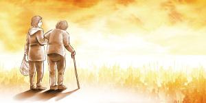 温馨彩绘关爱老人养老院海报背景素材