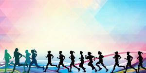 彩色几何渐变剪影马拉松大赛海报背景素材