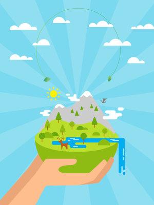蓝色矢量卡通世界环境日海报背景