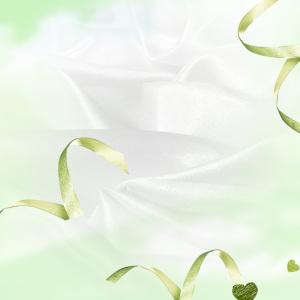 简约绿色丝带白丝绸PSD分层主图背景素材