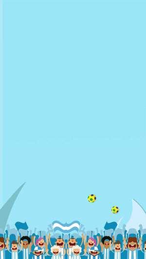 卡通全民运动清新蓝色H5背景素材