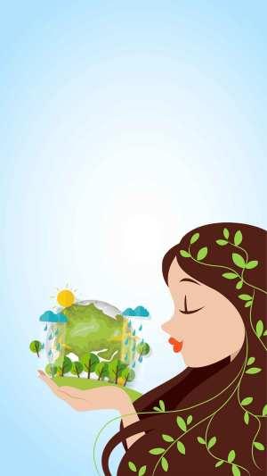 生态保护绿色地球环境公益H5背景素材