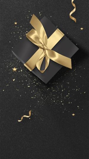 黑金质感冬季圣诞节日礼物设计背景图