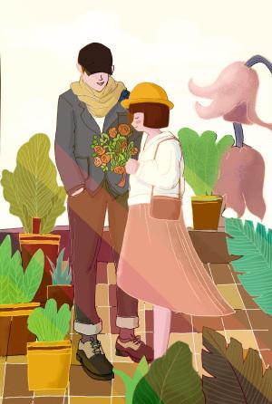 温馨情侣海报背景图
