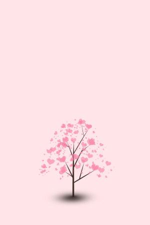 粉色简约爱心树520表白背景