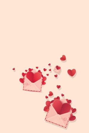 红色爱心信封520表白背景