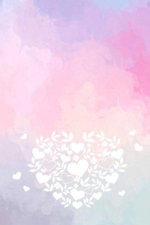 彩色水彩白色爱心520表白告白背景