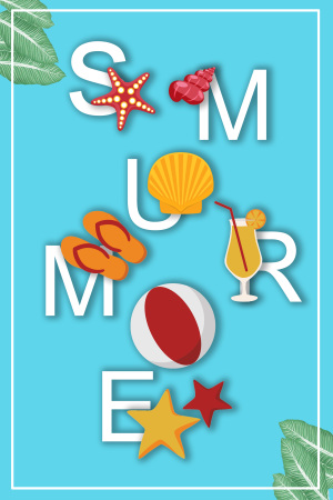 字母夏季海底生物海报