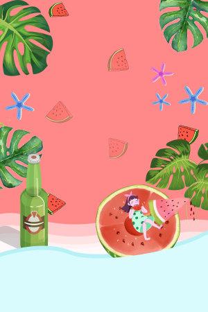夏至夏天西瓜消暑降温红色背景