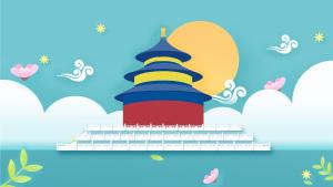 暑假旅游北京天坛扁平卡通风景