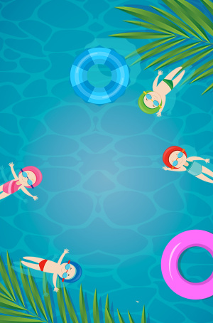 蓝色游泳池小暑惬意简约手绘芭蕉叶广告背景