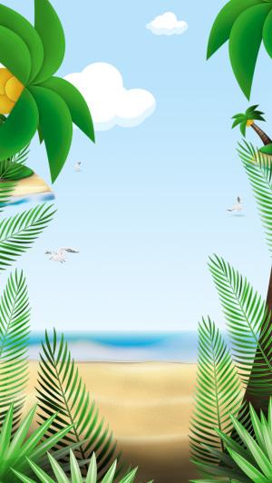 夏季手绘芭蕉叶海滩沙滩广告背景