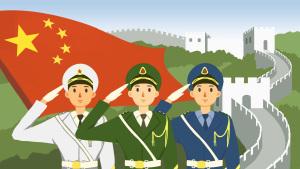 八一建军节海陆空军敬礼