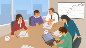 公司成员开会讨论方案