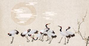 古风传统白鹤招生学习广告背景