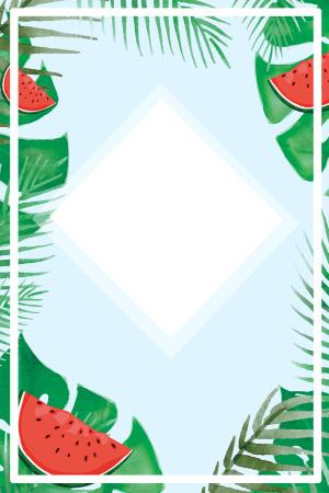 八月你好简约西瓜芭蕉叶卡通蓝色广告背景