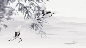 古风传统竹子白鹤