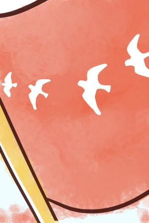 手绘和平白鸽海报背景