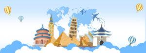 蓝色小清新环球旅游旅游背景