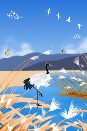 白露二十四节气白鹤池塘芦苇海报