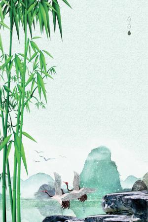 白露二十四节气竹林白鹤海报