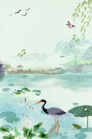 白露二十四节气中国风荷塘白鹤海报