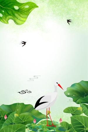 白露二十四节气白鹤叶子露珠海报