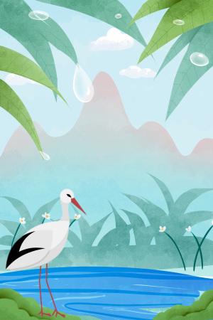 白露二十四节气湖面白鹤远山海报