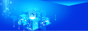 蓝色大气3D立体城市banner