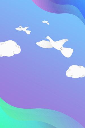 渐变紫色文艺清新世界和平日白鸽背景