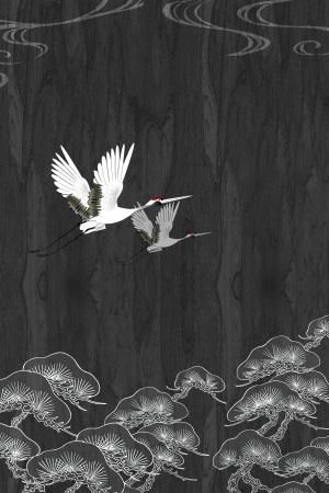 国际中式质感白鹤树木海报