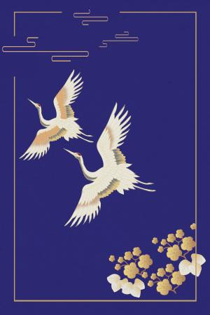 国际中国风白鹤背景海报