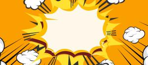 波普风爆炸云橙色Banner背景