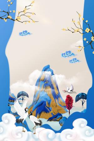 重阳节白鹤创意海报