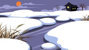 手绘唯美白雪皑皑雪景海报背景