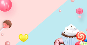 生日邀请函清新蛋糕糖果海报