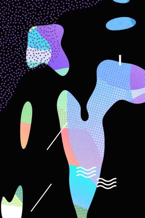 不规则图形扁平几何电商风背景海报