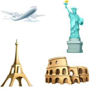 欧洲建筑自由女神旅游元素